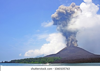 Dark gray ash and white steam mixed when small Krakatoa erupted