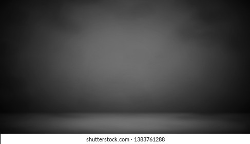 Dark, gray and black, abstract wall and studio room gradient background