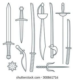 dark gray outline cold medieval weapons set with sword falchion glaive steel dagger dirk whiner saber saber sword katana bokken trident sai shrunken star