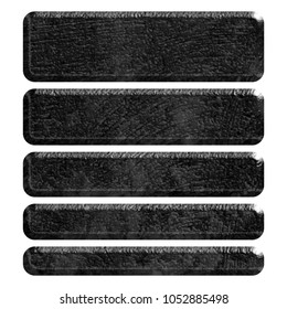 Dark gray rough black metal set of rounded corner rectangle banner shape design elements in a 3D illustration with a rocky shiny metallic surface isolated on a white background with clipping path.