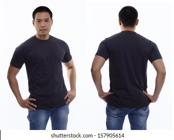 Dark gray t-shirt on a young man isolated front and back-Studio Shot