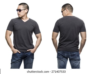 Dark gray t-shirt on a young man isolated front and back-Studio Shot.
