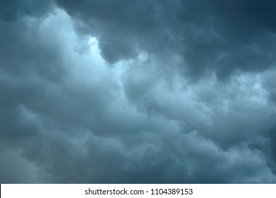 Dark Gray-Blue Thunderstorm Clouds