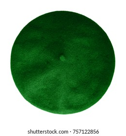 Dark green beret French hat top view isolated on white