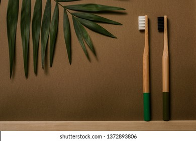 dark green and black colours bamboo toothbrushes on broun background with tropical leaf. Place for text. Ecoproduct.   eco-friendly