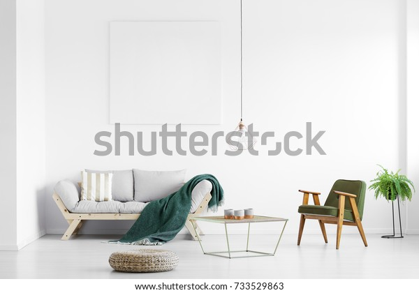 明るいリビングルームのグレイのソファに投げられた、空のポスターと肘掛け椅子を持つ、濃い緑の毛布