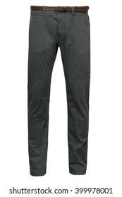 Dark green chinos pants with belt