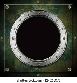 Dark Green Grunge Metal Porthole / Dark green and gray metallic porthole with bolts and black hole (window)