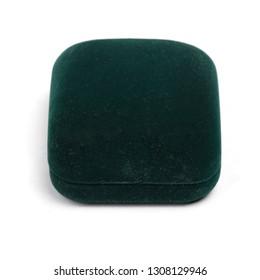 Dark green jewelry box isolated on white background