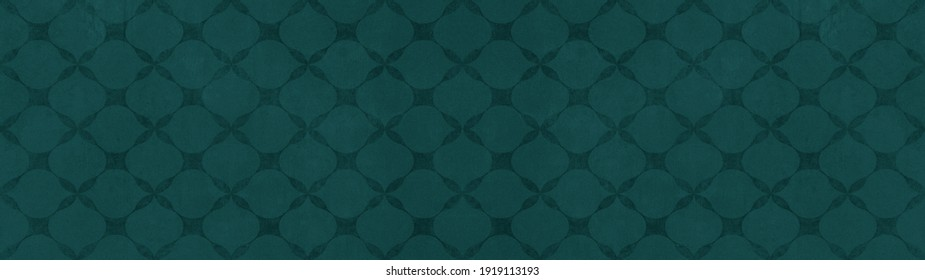 Dark green seamless motif tiles wallpaper texture background banner panorama - Vintage retro concrete stone cement tile with rhombus diamond leaves pattern