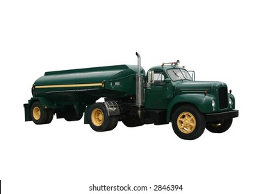 dark green side view of a fuel tanker truck and trailer, isolated on white