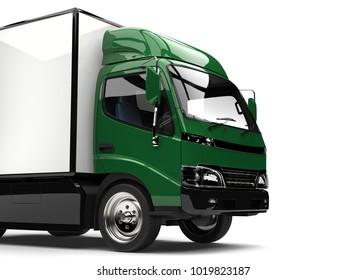 Dark green small box truck - cut shot - 3D Illustration