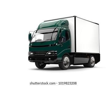 Dark green small box truck - 3D Illustration