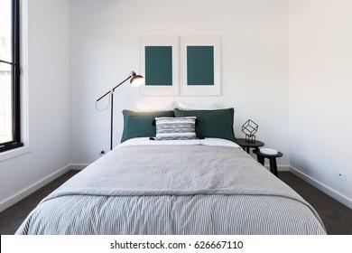 Dark green and white luxury bedroom