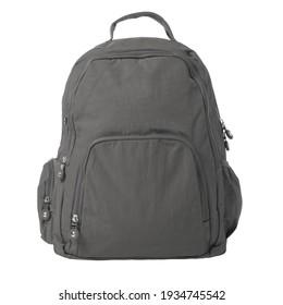 Dunkelgrauer Rucksack, einzeln auf weißem Hintergrund. Minimales Design