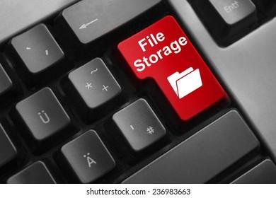 dark grey keyboard red button file storage