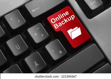 dark grey keyboard red enter button online backup folder