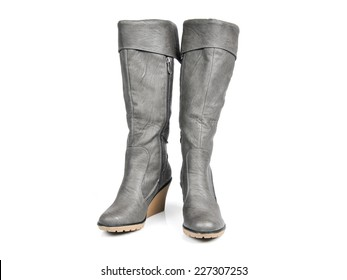 Dark Grey Long Boots. Front View