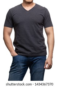 Dark grey on asian model for v-neck tshirt blank mockup template in your clothing design.
