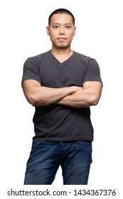 Dark grey on asian model for v-neck tshirt blank mockup template in your clothing design.