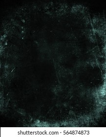 Dark grunge background with frame. Space for text or picture. Scary obsolete texture.
