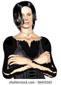 Dark hair dark eyed woman arms crossed dressed in witch clothing. Illustration clean white background.