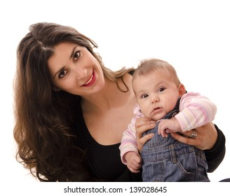 dark haired Mom and little baby, isolated over white background.