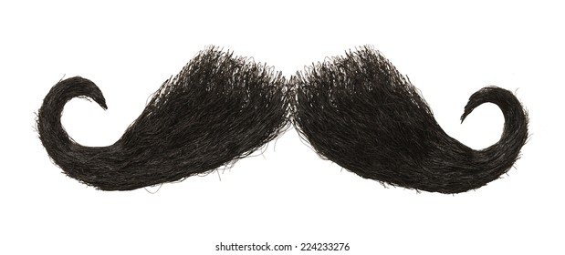Dark Hairy Mustache Isolated on White Background.