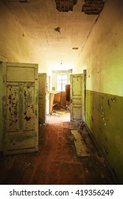 A dark hallway in a building of the city of Pripyat in the Chernobyl Exclusion zone.