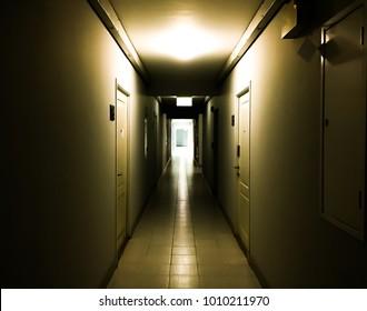 dark hallway in building interior