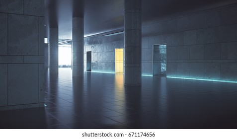 Dark hallway with daylight. Grunge interior. 3D Rendering