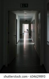 Dark Hallway Light at End Highlight Silence Mysterious Office Daytime Lights Off