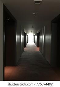 Dark Hallway with Red Carpet