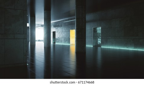 Dark hallway with sunlight. Grunge interior. 3D Rendering