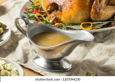 Dark Homemade Turkey Gravy for Thanksgiving Dinner