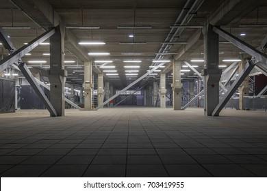 Dark industrial interior at underground