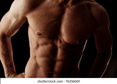 Dark Intense Muscular Male Bodybuilder