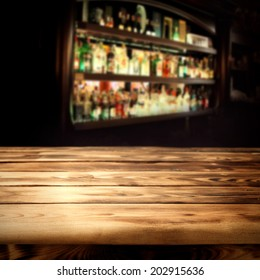 dark interior and wooden table bar