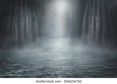 Dark landscape with magic forest, sea and magic light. Halloween background