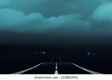 dark landscape with road and storm clouds