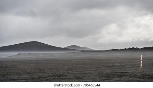 dark lava desert - great vastness in Iceland highlands