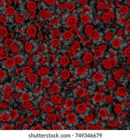 Dark leaved roses background / 3D illustration of abstract black leaved roses pattern