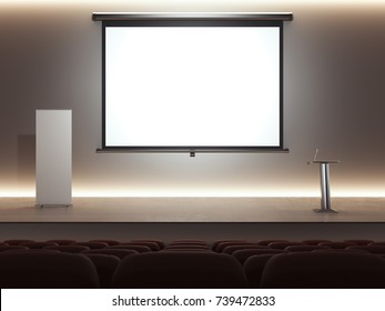 Dark lecture room with digital rostrum and big bright screen. 3d rendering