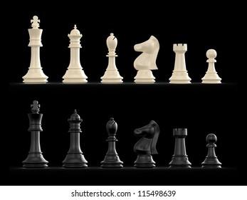 Dark and light chess set on black background.