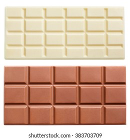 Dark and light milk chocolate bars isolated on white background with clipping path