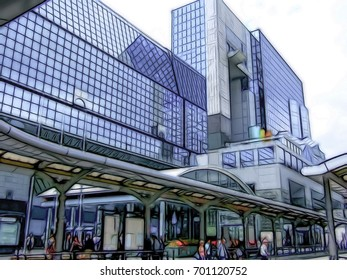 Dark Line Cartoon Drawing; The View at the Kyoto Station in Japan