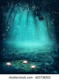 Dark magic forest with a lake
