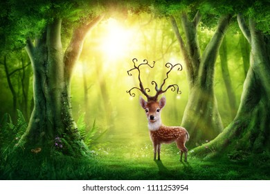 Dark magic forest with little deer