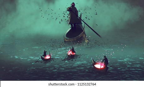 dark men with glowing souls on a boat meet the grim reaper, digital art style, illustration painting