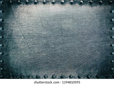 Dark metal frame with rivets